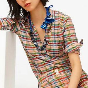 NWT J CREW Plaid Popover Shirt